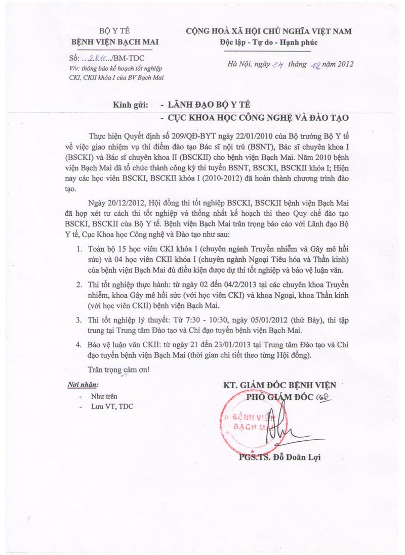 Thông báo kế hoạch tốt nghiệp CKI, CKII khóa 1 của Bệnh viện Bạch Mai