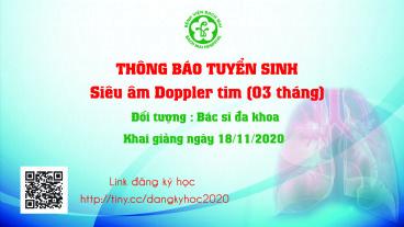 Thông báo khai giảng khóa đào tạo Siêu âm Doppler tim