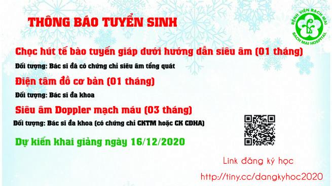 Thông báo khai giảng các khóa đào tạo ngày 16/12/2020