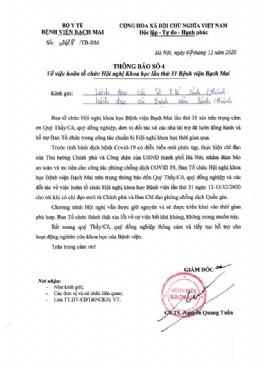 Thông báo về việc hoãn tổ chức Hội nghị Khoa học lần thứ 31 Bệnh viện Bạch Mai