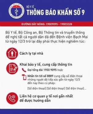 Thông báo khẩn số 9 của Bộ Y tế