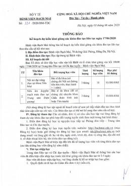 Thông Báo Kế hoạch dự kiến khai giảng các khóa đào tạo liên tục ngày 17/06/2020