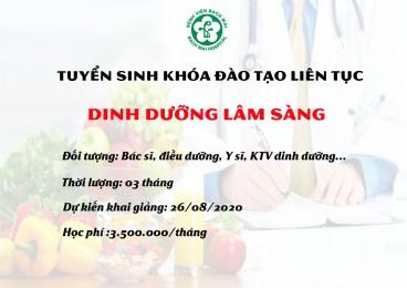 Thông báo khai giảng khóa đào tạo Dinh dưỡng lâm sàng