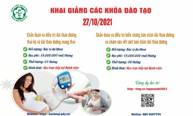 """Thông báo tuyển sinh các lớp chuyên ngành """"Nội tiết - Đái tháo đường"""" ngày 27/10/2021"""