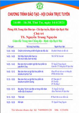 """Đào tạo trực tuyến """" Trao đổi, chia sẻ thông tin các chùm ca ngộ độc thực phẩm do độc tố Botulinum tại Việt Nam"""